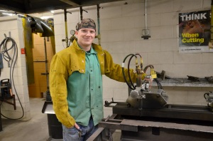Ray Pierce is pictured in the welding lab at Patrick Henry Community College. After receiving his certificate in industrial welding, Pierce plans to study for an applied science degree in general engineering.