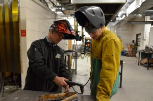 Pictured are Randy Smith (left), Ray Pierce's welding instructor and mentor, and Pierce (right).